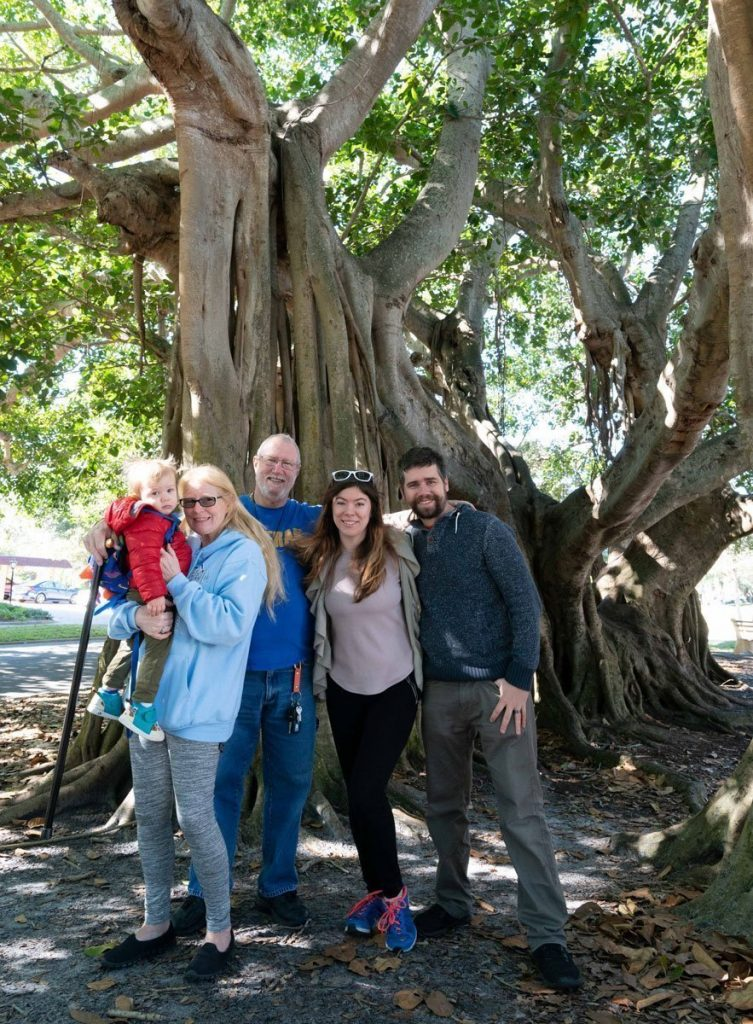 John, VIcki, Jen, Jordan, Elon by Stragler Fig Tree in Tampa